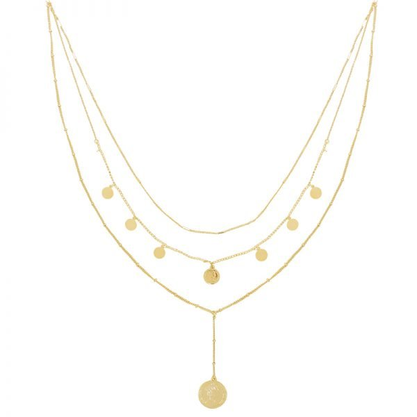 Ketting La Reina Layers goud gouden schakel 3 korte lange kettingen fashion accessoires