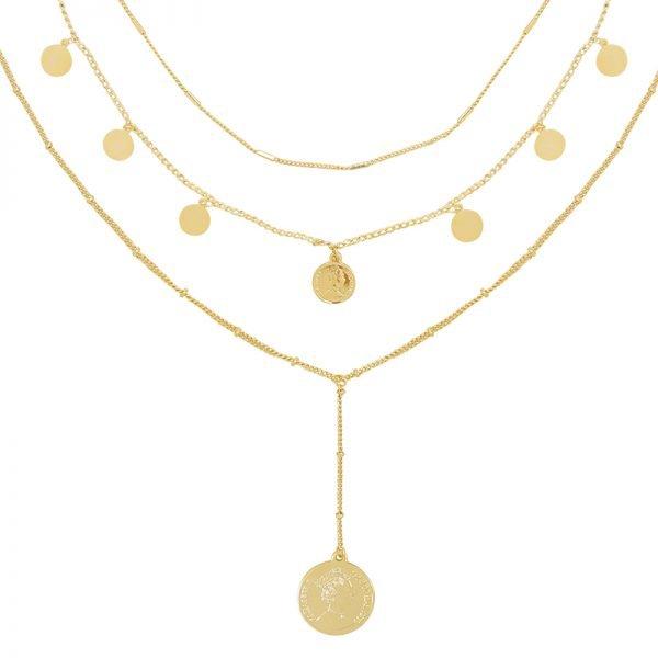 Ketting La Reina Layers goud gouden schakel 3 korte lange kettingen munt bedel fashion accessoires kopen