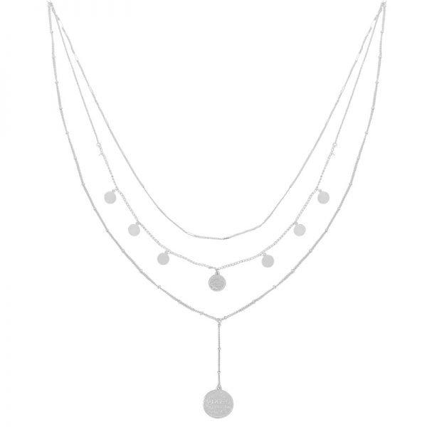 Ketting La Reina Layers zilver zilveren schakel 3 korte lange kettingen fashion accessoires