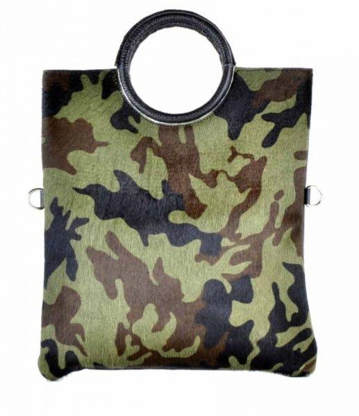 Leren Bag in Bag Dierenhuid army leger print camouflage Handtas leder giuliano koeienvacht luxe leer italiaans leder kopen bestellen giulia