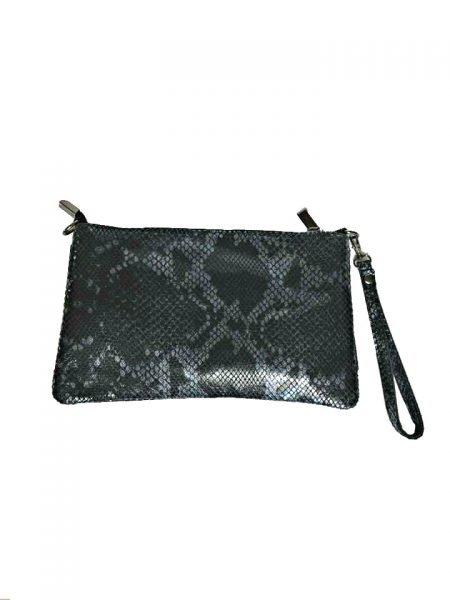 Leren Clutch Snakes zwart zwarte slangenprint clutches schoudertas leder leer schoudertassen kopen trendy achter - kopie