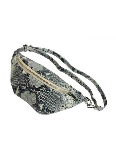 Leren Heuptas Snakes wit witte zwarte fannypack beltbag riemtassen leder leer heuptassen kopen trendy