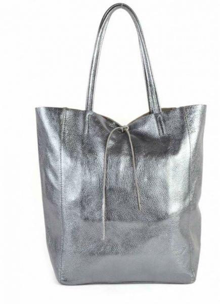 Leren Shopper Simple Metallic antraciet metallic lederen shoppers grote tassen kopen glans print giuliano tassen kopen