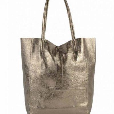 Leren Shopper Simple Metallic brons bronzen metallic lederen shoppers grote tassen kopen glans print giuliano tassen kopen