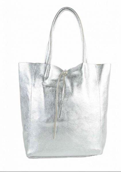 Leren Shopper Simple Metallic zilver zilveren metallic lederen shoppers grote tassen kopen glans print giuliano tassen kopen