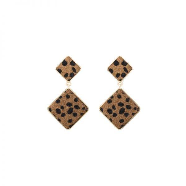 Oorbellen Furry Love bruin bruine dames oorbel statement grote oorbellen leopard panter dieren print vierkante sierad