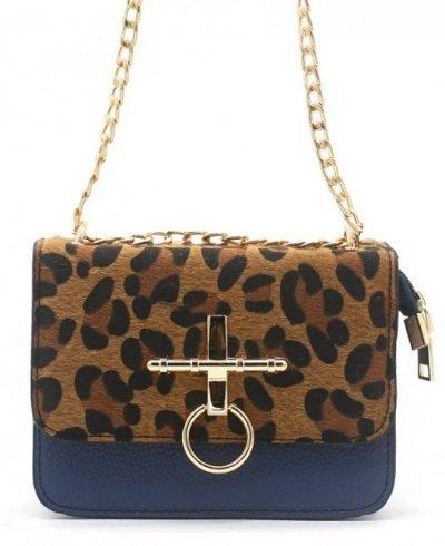 Schoudertas Leopard Ring blauw blauwe gouden beslag 2 kleurige panter print tassen tasjes kunstleder goedkope dames tasjes kopen