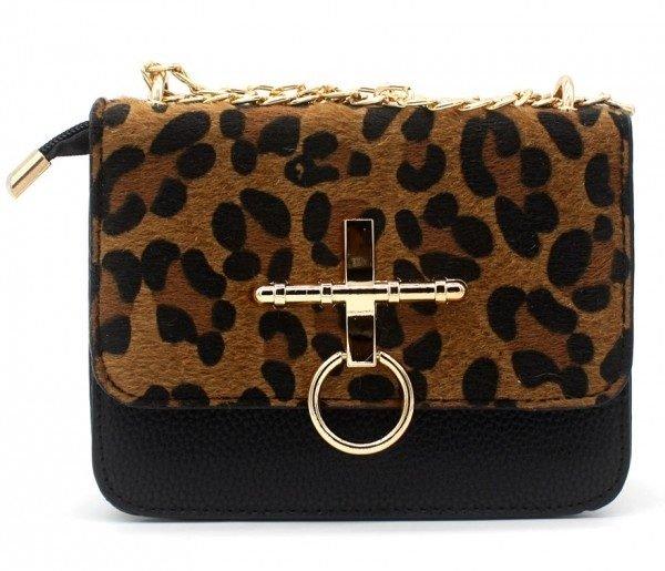 Schoudertas Leopard Ring zwart zwarte gouden beslag 2 kleurige panter print tassen tasjes kunstleder goedkope dames tasjes kopen