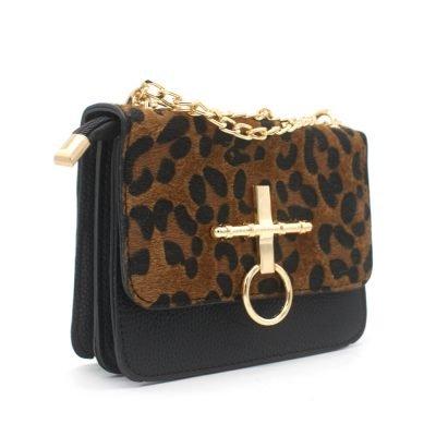 Schoudertas Leopard Ring zwart zwarte studs panter print tassen tasjes kunstleder goedkope dames tasjes kopen ketting hengsel