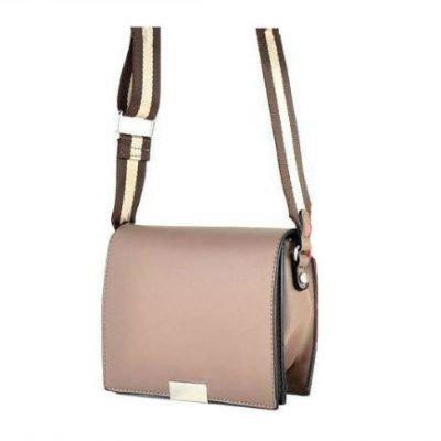 Schoudertas Lines bruin bruine kleine dames tasjes tassen fashion bags kopen goedkoop giuliano breed twee kleurig streep hengsel