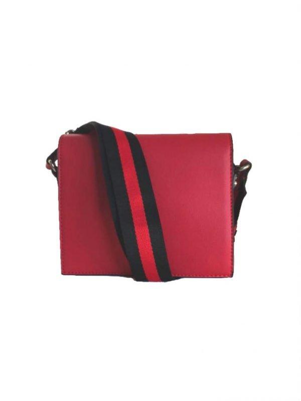 Schoudertas Lines rood rode schoudertassen kleine tasjes twee kleurig hengsel musthave strepen rood zwart kopen