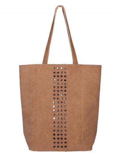 Shopper Lovely Studs bruin bruine cognac tassen shoppers grote tas kuntsleder online yehwang kopen bestellen