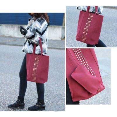 Shopper Lovely Studs rood rode tassen shoppers grote tas kuntsleder etui bag in bag gouden studs online yehwang kopen