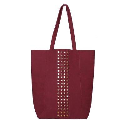 Shopper Lovely Studs rood rode tassen shoppers grote tas kuntsleder gouden studs online yehwang kopen bestellen