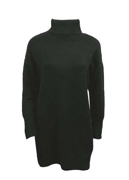 Wollen Sweater Dress Col zwart zwarte lange gebreide wol jurk met col warme winter jurken online kopen bestellen 1