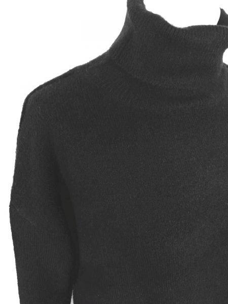 Wollen Sweater Dress Col zwart zwarte lange gebreide wol jurk met col warme winter jurken online kopen bestellen details
