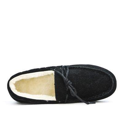 Zwarte Loafer Moccasin zwart zwarte instappers wollen voering winter schoenen dames schoenen loafers Moccasins online leuke goedkope schoenen bestellen