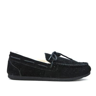 Zwarte Loafer Moccasin zwart zwarte instappers wollen voering winter schoenen dames schoenen loafers Moccasins online leuke goedkope schoenen kopen