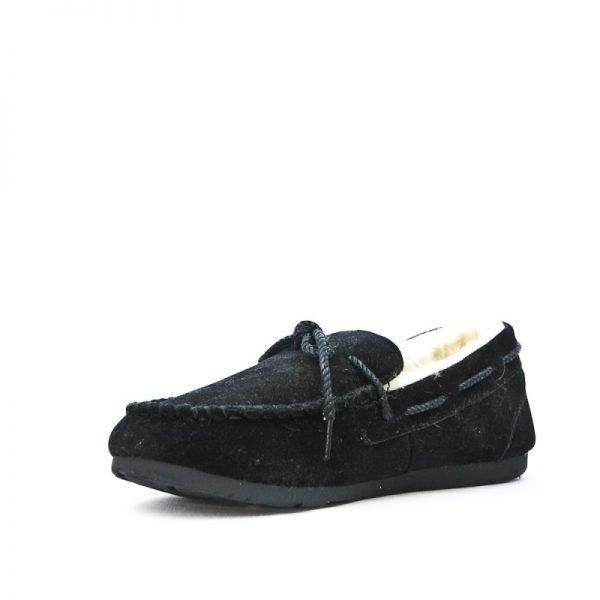 Zwarte Loafer Moccasin zwart zwarte suede instappers wollen voering winter schoenen dames schoenen loafers Moccasins online leuke goedkope schoenen bestellen