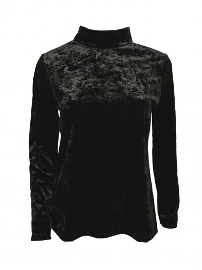 Zwarte Velours Col Top zwart zwarte velvet velour topjes truitjes col truien dames online bestellen kopen