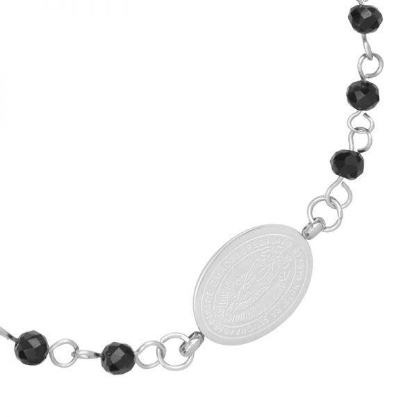 Armband Dark Rosery zilver zilveren Armbanden kruis bedel zwarte kralen fashion bracelet kopen details