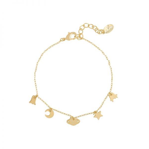 Armband In Space goud gouden dames armbanden bedels ster maan kopen details sieraden bracelet armcandy
