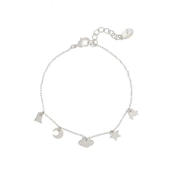 Armband In Space zilver zilveren dames armbanden bedels ster maan kopen details sieraden bracelet armcandy