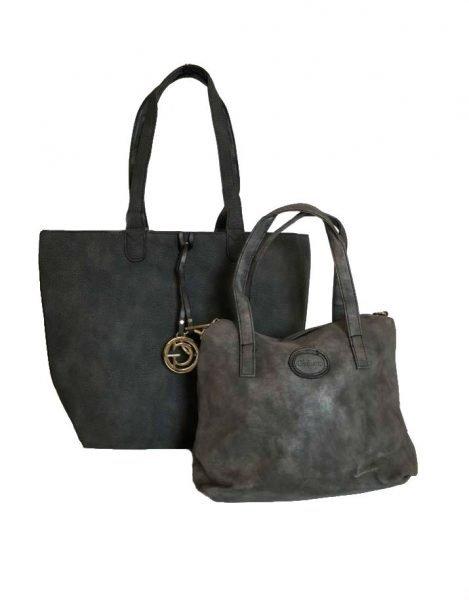 Bag in Bag Tas Monica donker grijs zwart zwarte tassen extra kunstleder binnentas tassen bestellen