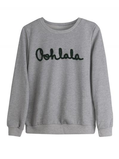Grijze Sweater OohLaLa grijs truien winter kleding groene tekst kopen bestellen