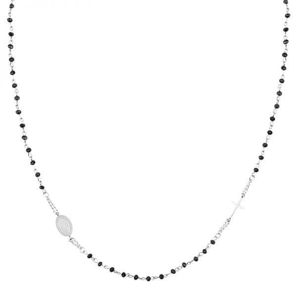 Ketting Dark Rosery zilver zilveren ketting kruis bedel zwarte kralen fashion ketting necklage kopen