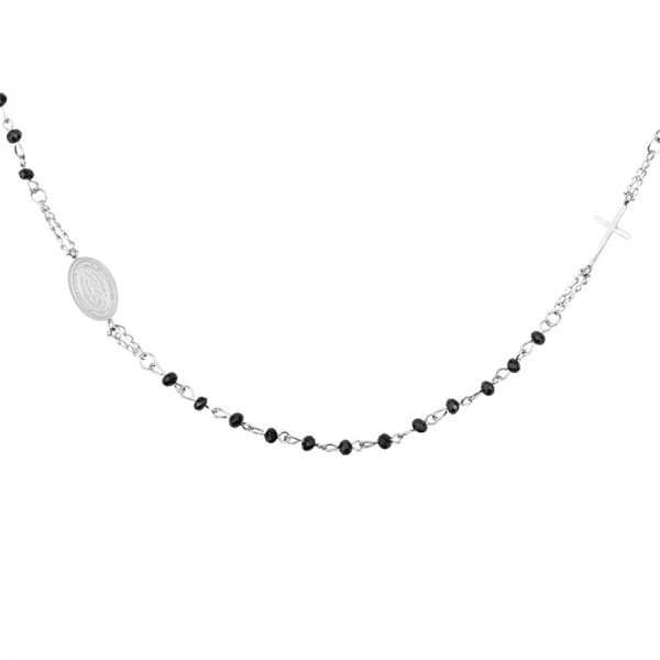 Ketting Dark Rosery zilver zilveren ketting kruis bedel zwarte kralen fashion ketting necklage kopen details