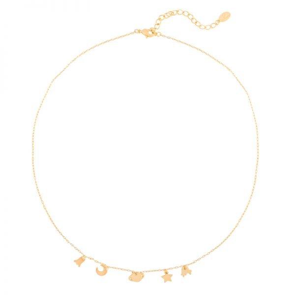 Ketting In Space goud gouden dames Kettingen bedels ster maan kopen details sieraden bracelet armcandy