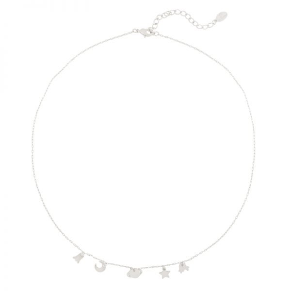 Ketting In Space zilver zilveren dames Kettingen bedels ster maan kopen details sieraden bracelet armcandy