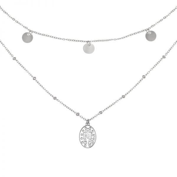 Ketting Layered Mary zilver zilveren dames ketttingen muntjes bedels dubbele necklage details
