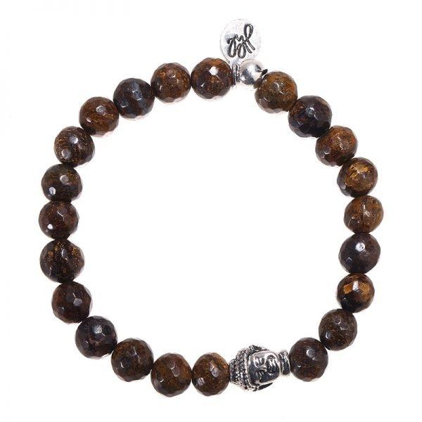Kralen Armband buddha bruin bruine mannen armband zilveren buddha bedel kopen