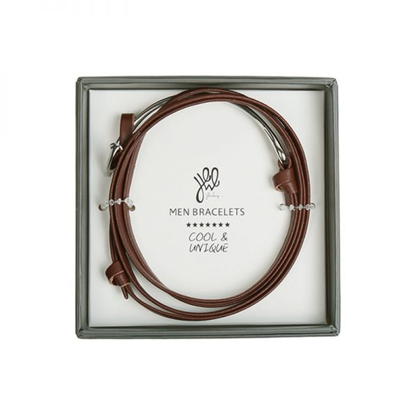 Leren Mannen Armband Cassanova bruin bruine bracelet zilveren details stoere man accessoires kopen