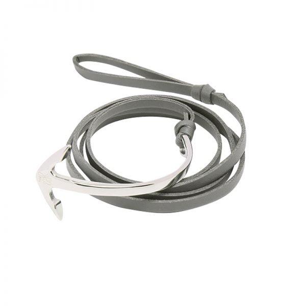 Leren Mannen Armband Cassanova grijs grijze bracelet zilveren details stoere man accessoires bestellen