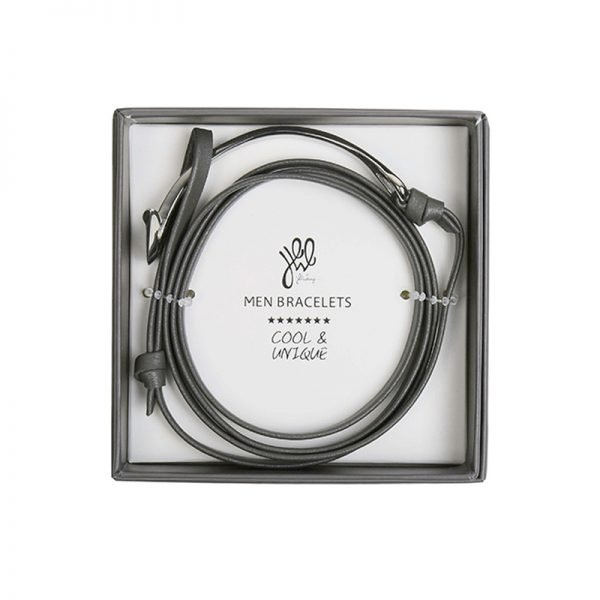 Leren Mannen Armband Cassanova grijs grijze bracelet zilveren details stoere man accessoires kopen