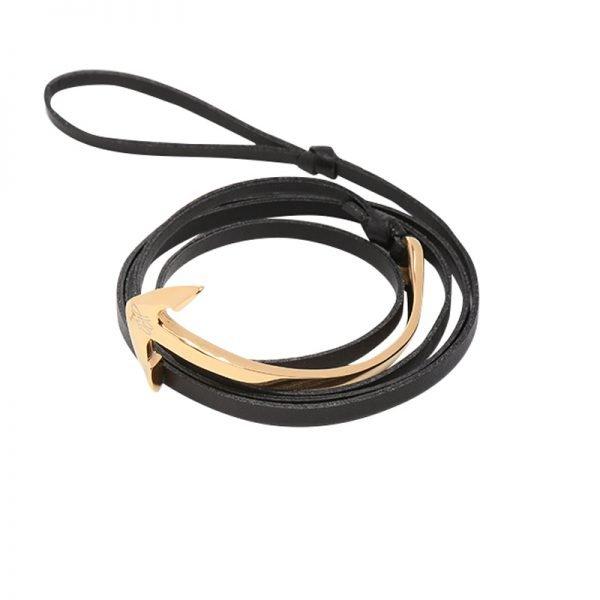 Leren Mannen Armband Cassanova zwart zwarte bracelet gouden details stoere man accessoires bestellen