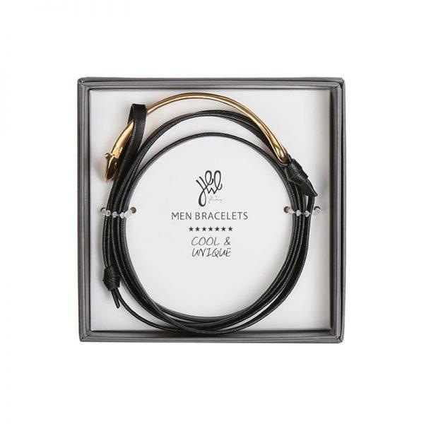Leren Mannen Armband Cassanova zwart zwarte bracelet zilveren details stoere man accessoires kopen