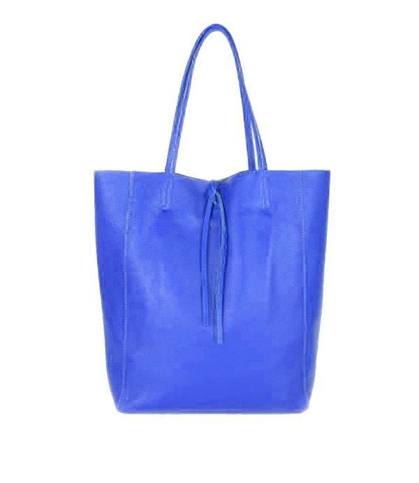 Leren-Shopper-Simple-blauw blauwe-ruime-dames-shopper-zacht-leer-online-luxe-dames-tassen-italie-bestellen