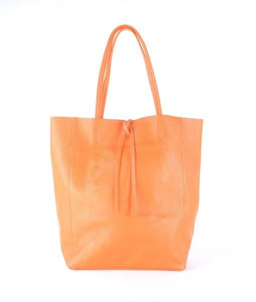 Leren-Shopper-Simple-oranje orange-ruime-dames-shopper-zacht-leer-online-luxe-dames-tassen-italie-bestellen
