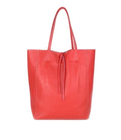 Leren-Shopper-Simple-rood rode-ruime-dames-shopper-zacht-leer-online-luxe-dames-tassen-italie-bestellen