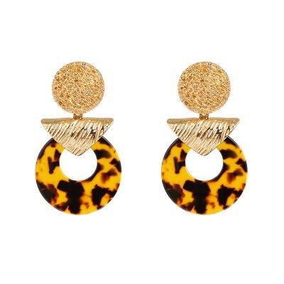Oorbellen Exotic Muse grote bruin gouden goud statement oorbellen kleurrijk bruine geel brown mozaiek fashion