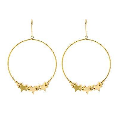 Oorbellen Hoop Stars goud gouden ronde dames oorbellen sterren fashion earrings kopen