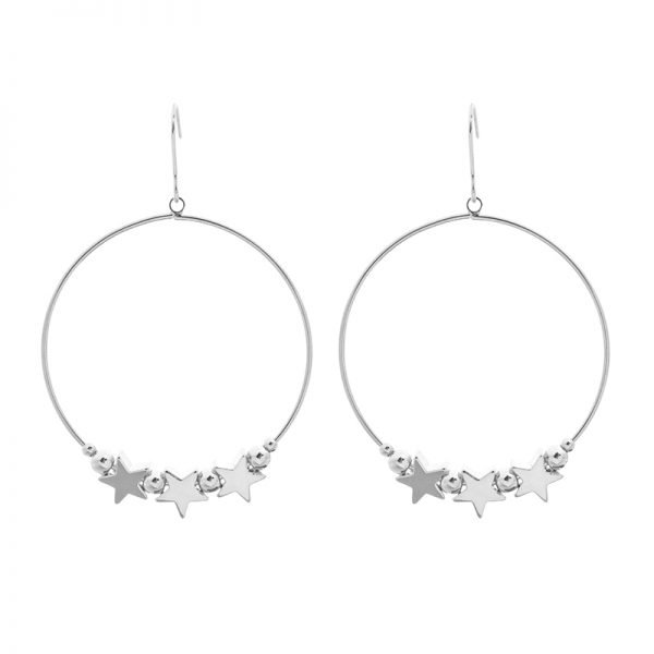 Oorbellen Hoop Stars zilver zilveren ronde dames oorbellen sterren fashion earrings kopen