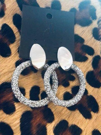 Oorbellen Sparkling Rounds zilver zilveren glitter oorbel goud statement fashion earrings 1