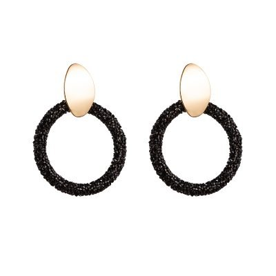 Oorbellen Sparkling Rounds zwart zwarte glitter oorbel goud statement fashion earrings