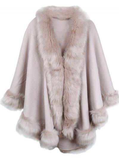 Poncho Wonderland oud roze pink dames ponchos fake fur trendy omslagdoeken