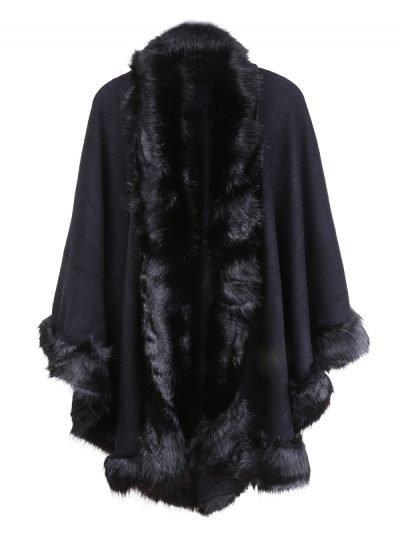 Poncho Wonderland zwart zwarte dames ponchos fake fur trendy omslagdoeken
